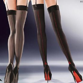Gabriella Cruze Contrast Seam Stockings in Black or Grey